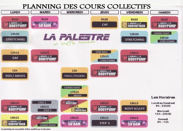 Le nouveau planning des cours collectifs à La Palestre